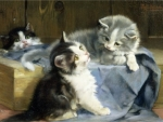 playing kittens painting