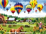 Balloons Over Pasture 1
