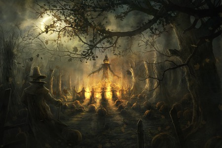 Halloween Pagan Ritual  - pagan ritual, halloween, scary, fire, night, pumpkin