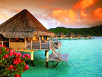 Sunset overwater bungalow
