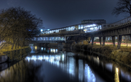 TRAIN STATION - track, station, trees, river, train, lights