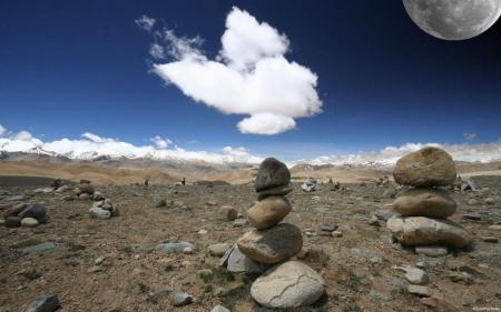 Moon over Tibet an plateau - moon, wallpaper, field, stones, clouds, photography, landscape, abstract, rocks, nature, scene, sky, HD