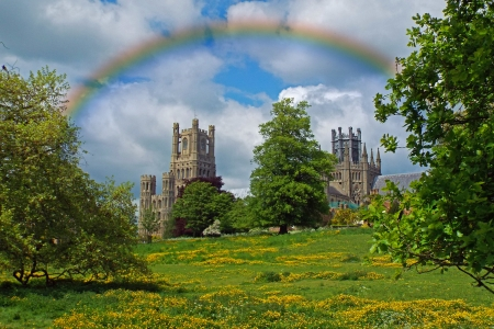 Cherry Hill Park, Ely - Building, Landscape, Rainbow, Cathedral
