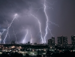 amazing lightning storm over city