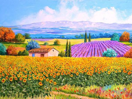 Colourful Landscape - sunflowers, house, painting, mountains, art, fields, pine trees