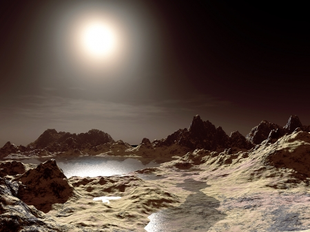 lunar landscape - space, light, landscape, moons