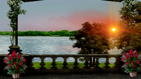 Balcony view lakes nature background wallpapers on for Balcony view wallpaper