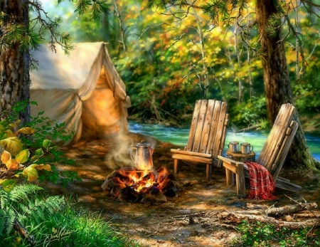 Summer Camping - Forests & Nature Background Wallpapers on ... Camping Forest Wallpaper