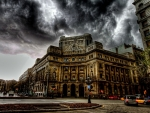 dark stormy clouds over barcelona hdr