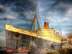 the great queen mary docked in long beach hdr