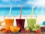 Fresh juice drinks on the beach