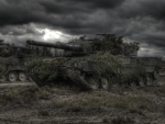 modern battle tanks on maneuvers hdr