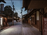 alleyway in a japanese town at dusk