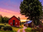 sunset on a farm hdr
