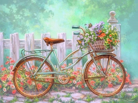 bicycles with flowers wallpaper - photo #2