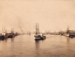 sailboats in 1890' harbor