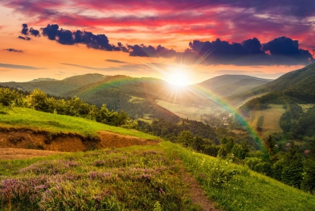Rainbow over mountain - rainbow, hills, slope, glow, mountain, wildflowers, rays, grass, beautiful, amazing, fiery, sun, sky