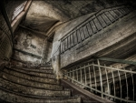 old abandoned ruined stairs hdr