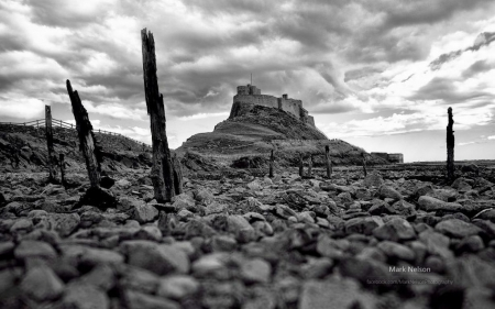 Lindisfarne - field, wallpaper, black and white, scene, abstract, landscape, photograohy
