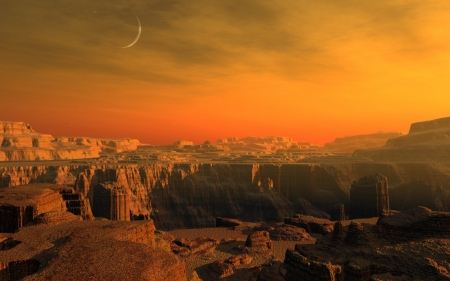 graceful canyons - moon, aky, sunset, canyon