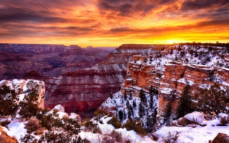 snow draping the grand canyon hdr - sunrise, winter, cliffs, snow, hdr, canyon