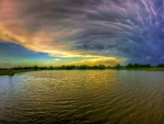 superb sky over rippling ake hdr