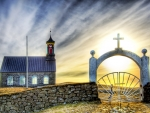 rural church in iceland hdr