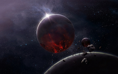 Paradigm - space, 3D, asteroids, planets, renders, moons
