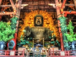 massive buddha in todaji temple in japan hdr