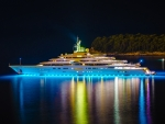 fantastic yacht at night