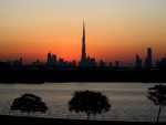 dubai city silhouette at sunset