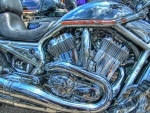 close up of a harley davidson engine hdr
