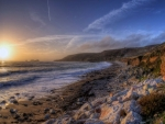 magnificent beach landscape at sunset hdr
