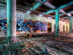 graffiti inside an old abandoned building hdr