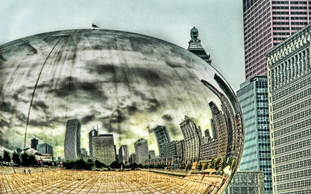 mercury blob sculpture in chicago hdr - sculpture, city, modern, hdr, reflection