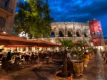 nightlife in nimes france hdr