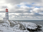 peggys lighthouse in nova scotia in winter