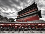 row of rickshaws at the drum tower in beijing hdr