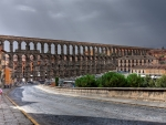 roman aquifer in segovia spain hdr