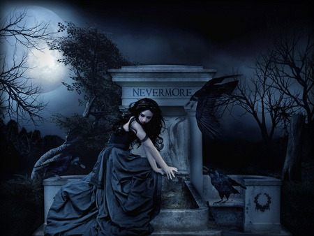 NEVERMORE - beautiful, tomb, alone, halloween, pretty, tree, beauty, night, girl, dark, gothic, woman, nevermore, graveyard, raven, grave, skirt, clouds, the, scary, quote, dress