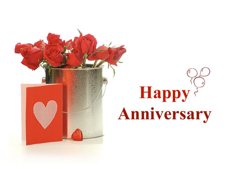 Happy anniversary - flowers, red, happy anniversary, card