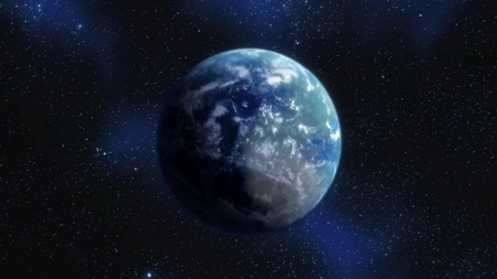 Earth - Land Blue, Land, Movie, Manga, Stars, Dragon Ball, Resurrection F, Green, Anime, Sky, Earth, Ocean, Clouds, Space, Z, Battle Of Gods, Blue, Screenshot