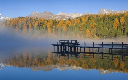 Austrian Alps, Hohe Tauern - reflections, colors, autumn, pier, trees, water