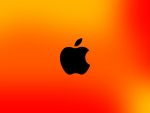 black apple on orange
