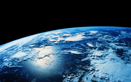 Earth views - space art, colorful, universe, horizon, color, continents, hubble, earth, clouds, world, space, planet, overview