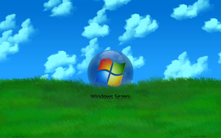 Wallpaper 61 - Windows 7 - 7, microsoft, clouds, windows, ball, vista, blue, seven, green, sky, windows 7