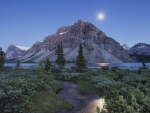 moon over bow lake canada