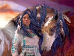Native Woman and Her Horse