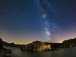 stars over fortress rumkale turkey on euphrates river