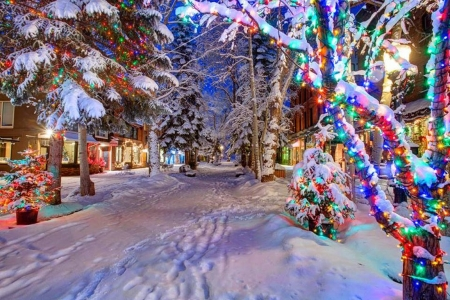 Christmas Lights in Aspen, Colorado - Winter & Nature Background ...